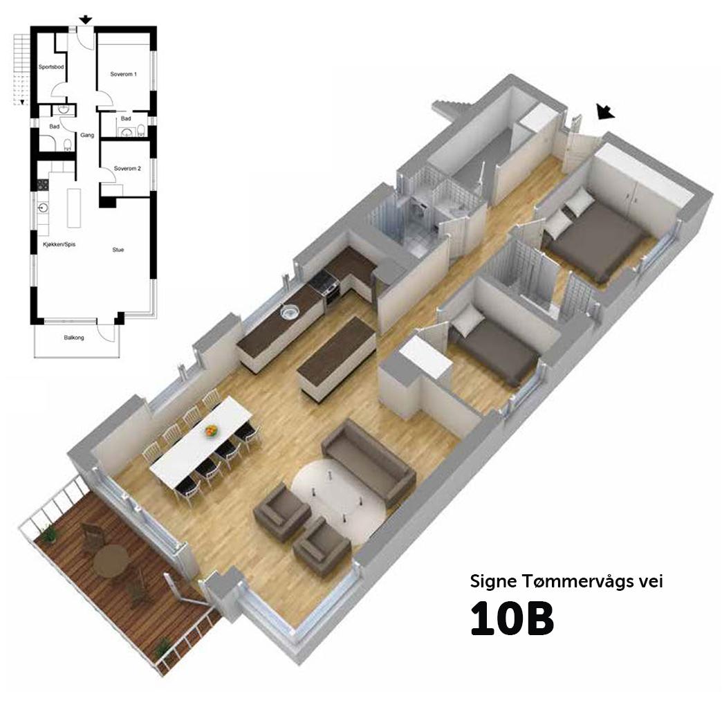 Hus 4, 1. etg. 3-ROMS leilighet BRA: 75,6 M2 P-ROM: 71,1 M2 Sum felleskost: kr 5 994,- Pris:1 156 000,- + omk. Totalpris: 2 908 348,-(ink. omk.) ProspektPrisliste